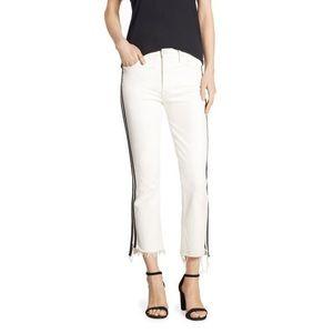 Mother Insider Crop Straight-Leg Jeans w/ Stripes